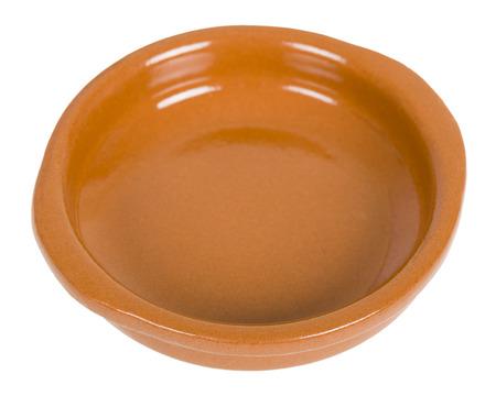 cazuela: Empty Tapas or Cazuela Dish isolated on a white background. Stock Photo