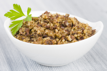 pluck: Haggis - Traditional Scottish dish made of sheeps pluck oatmeal and spices.