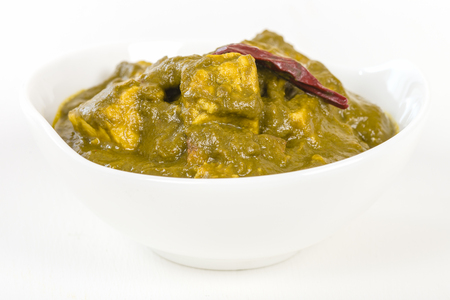 paneer: Palak Paneer - Indian cheese cooked in a spicy spinach sauce. Stock Photo