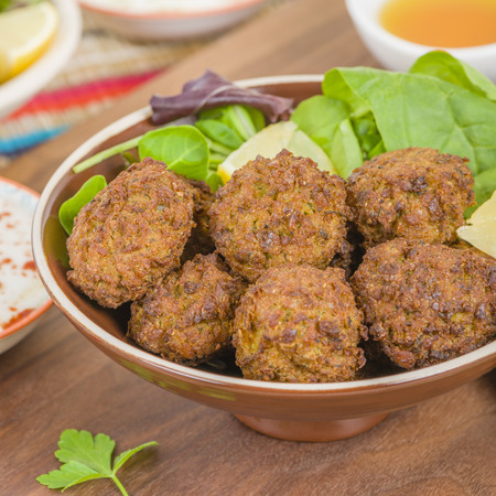 balls deep: Falafel - Middle Eastern deep fried balls made of chickpeas.