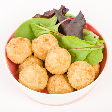 popcorn bowls: Prawn  Coconut Popcorn - Shrimp meat coated in coconut batter, breaded and deep fried. Stock Photo