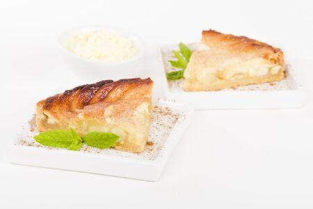 aux: Tarte Aux Pommes - Apple pie slice on a white backgroun Stock Photo