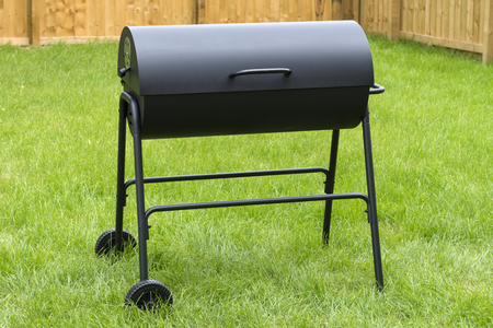 Drum Barrel Charcoal BBQ - Oil barrel style barbecue in garden