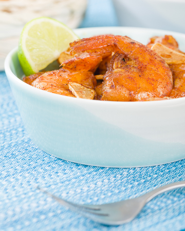 Gambas al Ajillo - Prawns with garlic slivers and smoked paprika. Spanish Tapas!
