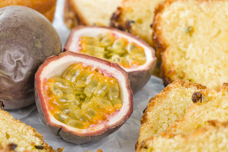 Passion Fruit Cake - Cake made with passion fruit juice. Traditional Brazilian dessert.