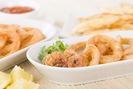 Calamari - Deep-fried squid rings served with garlic mayo.