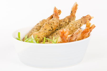 Breaded Prawns - King prawns coated in plain and spicy breadcrumbs and deep-fried.