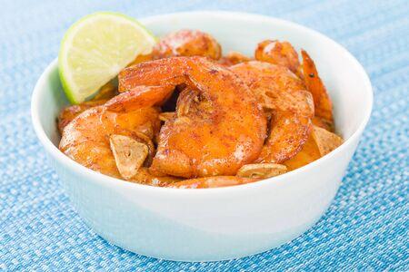 slivers: Gambas al Ajillo - Prawns with garlic slivers and smoked paprika. Spanish Tapas!