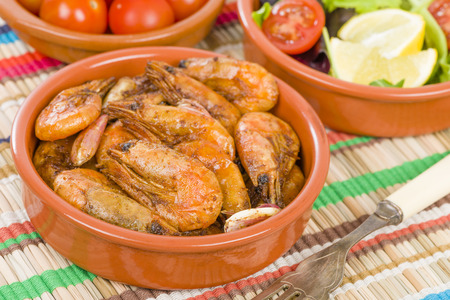 Gambas Pil Pil Sizzling prawns. Traditional Spanish tapas dish.