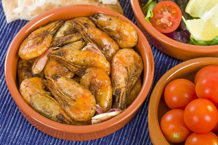gambas: Gambas Pil Pil Sizzling prawns. Traditional Spanish tapas dish.