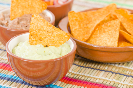 totopos: Tortilla Chips  Dips - Mexican totopos with guacamole, refried beans and salsa.