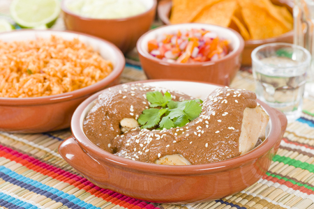 mole: Mole Poblano - Chicken with mole sauce and tomato rice. Traditional Mexican food.