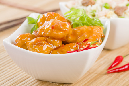 Sweet  Sour Chicken - Chinese style battered chicken breast fillets with sweet and sour sauce.