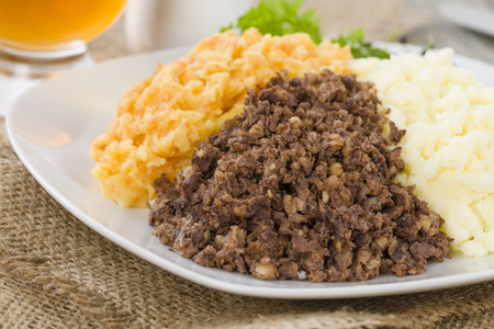 neeps: Haggis, Neeps  Tatties - Traditional Scottish meal commonly served at Burns Night. Served with whisky sauce.