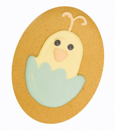 chick: Gingerbread chick in eggshell isolated on a white background Stock Photo
