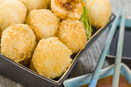 balls deep: Katsu Chicken Balls - Japanese style breaded and deep fried rice balls filled with chicken curry.