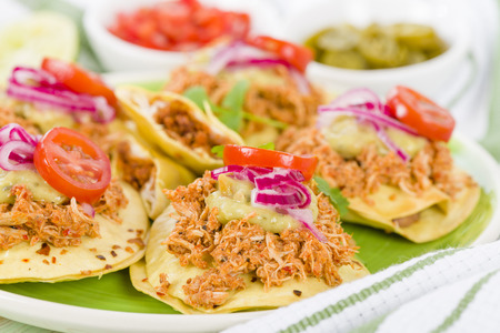 Panuchos - Mexican corn tortillas filled with refried beans and topped with shredded chicken, guacamole, pickled red onions and tomato. Reklamní fotografie