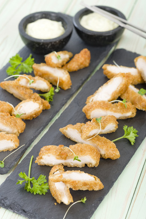 battered: Wasabi Chicken - Battered and deep fried chicken fillets served with wasabi mayo.
