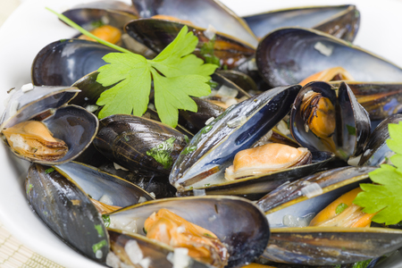 wine sauce: Moules Marinieres - Mussels cooked with white wine sauce.