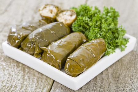 Sarma - Rice and mint wrapped in grape vine leaves.
