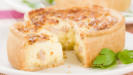 savoury: Quiche Lorraine - Individual quiches with bacon, cheese and savoury custard.