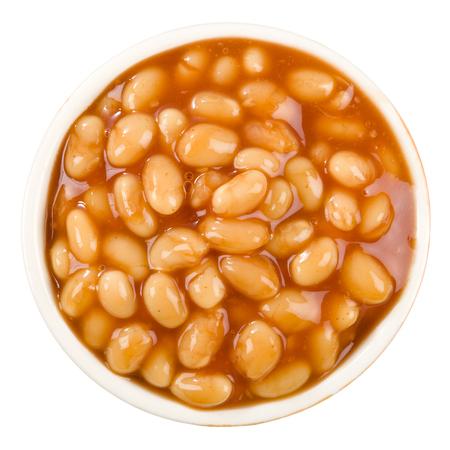 white beans: Baked Beans - Bowl of baked beans in tomato sauce