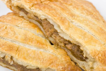pasty: Steak Pasty - Freshly baked puff pastry parcel filled with beef and gravy.
