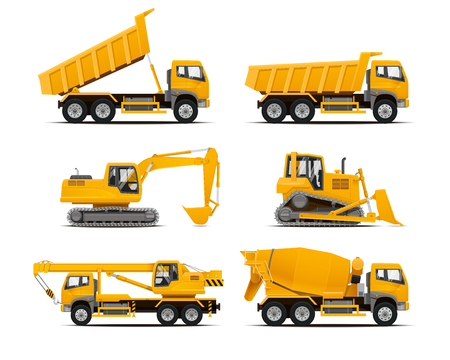 dumper: Set of the construction machinery vehicles. Vector Truck, Vector Dumper, Vector Excavator, Vector Mobile crane, Dozer. High detailed vector illustration.