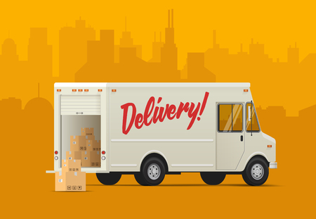 Delivery truck side back. Isometric styled  illustration of the Delivery Truck.