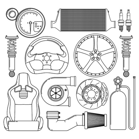 Auto Parts Vector Black Lined Icons Set.