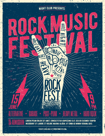 Rock Fest Flyer Poster. Vintage styled vector illustration. Grunge Poster