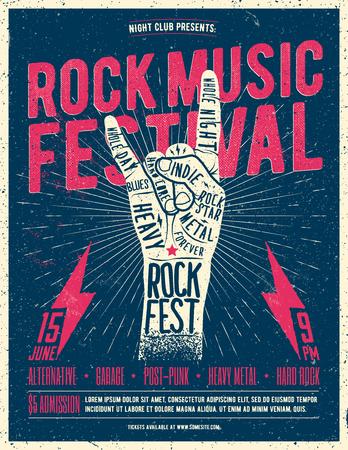 Rock Fest Flyer Poster. Vintage styled vector illustration. Grunge Poster Фото со стока - 81964753