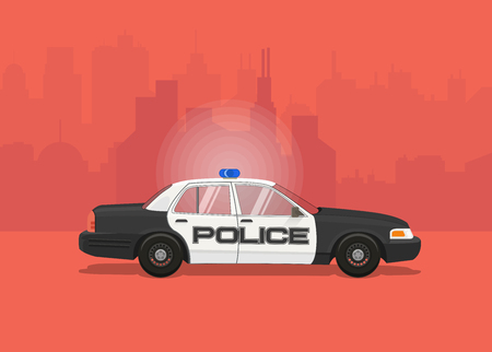 Police Car. Side view flat styled vector illustration.
