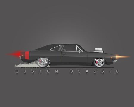 70 年代の古典的な筋肉の車。側面図です。高詳細なベクトル イラスト。  イラスト・ベクター素材