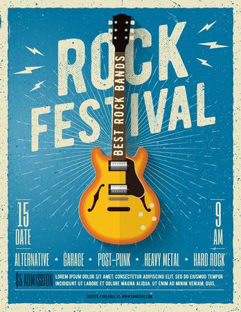 Rock music festival flyer. Vector illustration. Poster Иллюстрация