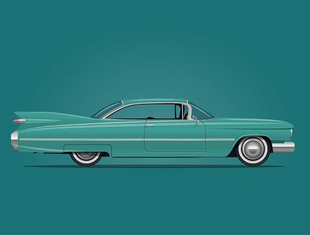 古典的なアメリカ車側面図のベクトル  イラスト・ベクター素材