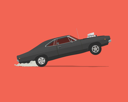 Dragster. Side View Vector flat styled illustration of Classic American Muscle Car Illustration