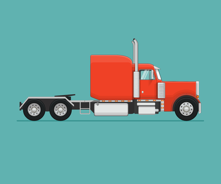 American Semi Truck. Flat styled vector illustration. Illustration