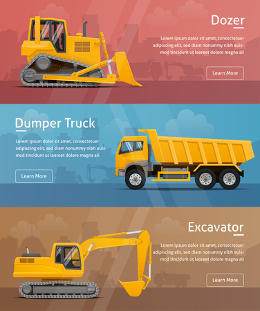 Dumper, Excavator, Dozer. Side View. Web Banners. Highly detailed vector illustration.