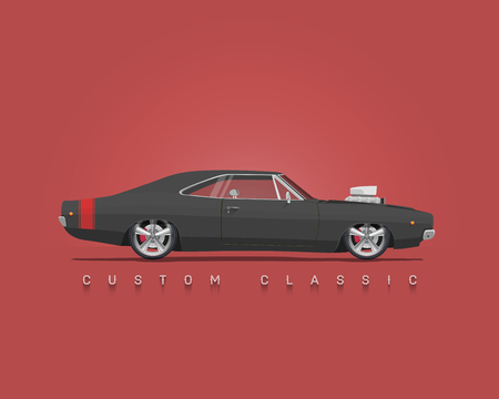 American classic muscle car. Side View. High detailed vector illustration. Ilustração