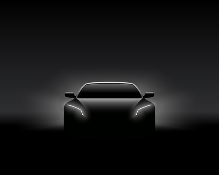 Front View Dark Concept Car Silhouette. Realistic Vector Illustration. Car Silhouette Banner. Çizim