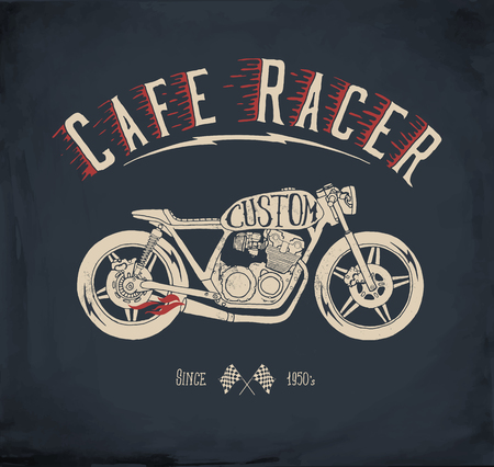 Cafe Racer Motorcycle. Vintage hand drawn styled vector illustration. T-shirt design.