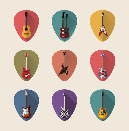 Guitars flat icons set. Flat Styled Vector Illustration.