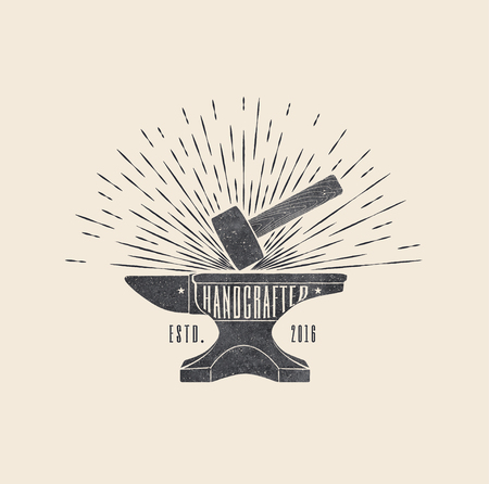 Handcrafted. Vintage styled vector illustration of the hammer and anvil. Vector icon.