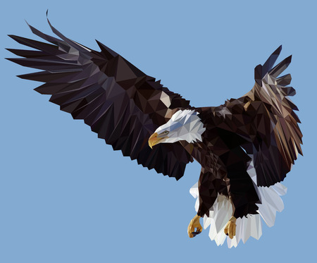 Vector Low Poly Styled Illustration of the American Eagle Illustration