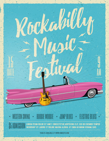 Rockabilly Music Festival Poster Flyer. Vintage Styled Vector illustration. Party Poster