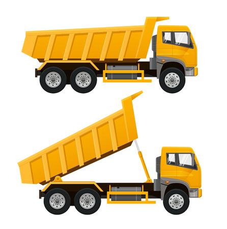 Vista laterale camion ribaltabile giallo. Illustrazione vettoriale realistico