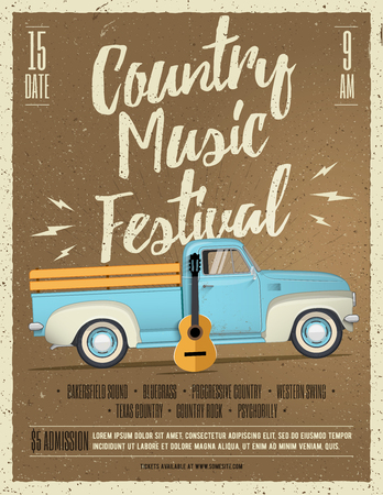 Country Music Festival Flyer. Vintage styled vector illustration. Event poster