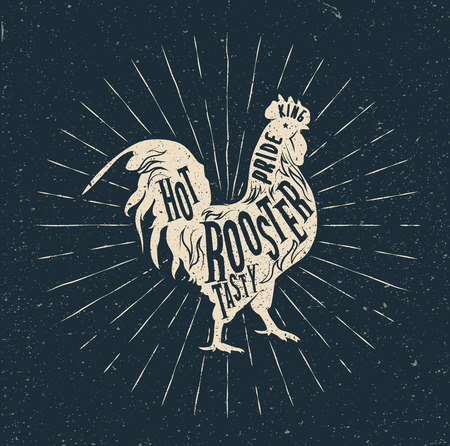 weathercock: Rooster label. Vintage styled vector illustration. Vector Badge.