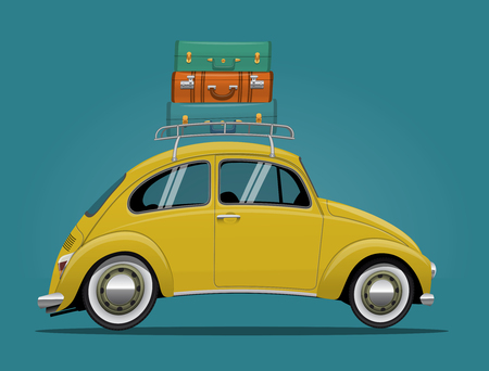 Yellow Travel Car. Funny Cartoon Styled Vector Illustration Vettoriali